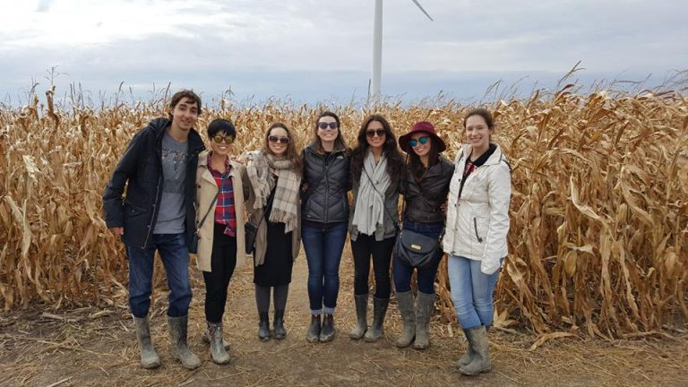 SKHS Students in front of a field of corn