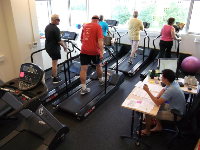 Participants exercising on treadmills